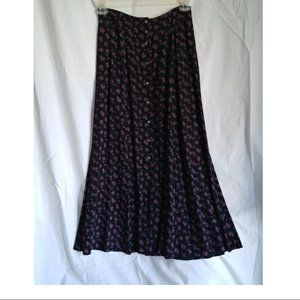 Vintage 100%  Rayon Button Front Maxi Skirt